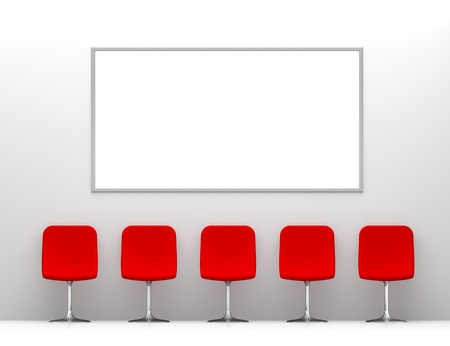 Five Red Chairs in the White Interior with Billboard on the Wall Stock Photo