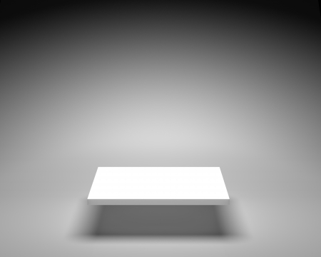 exposition: Empty white shelve on grey background in bright illumination Stock Photo