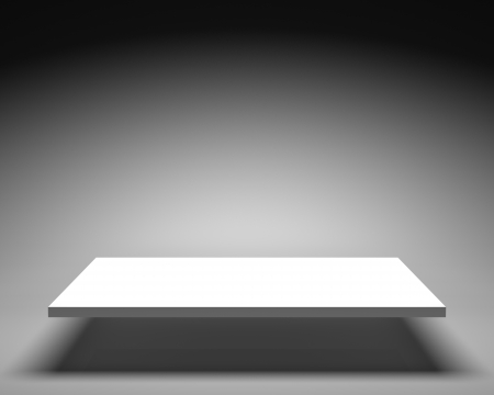 grey backgrounds: Empty white shelve on grey background in bright illumination Stock Photo