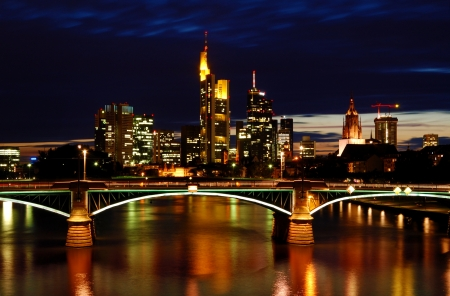 Night View of Frankfurt  Frankfurt Skyline at Night with Reflection in the Water photo