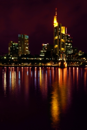river main: Night View of Frankfurt  Frankfurt Skyline at Night with Reflection in the Water