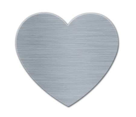 White Valentines's Day Heart in the Metal Textured Surface Stock Photo - 17585146