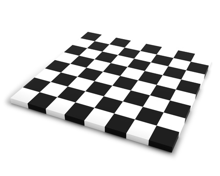 Empty Chessboard Isolated on the White Background