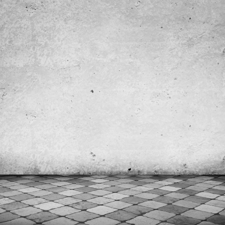 floor tile: Empty White Room with Copy Space and Tile Floor Stock Photo