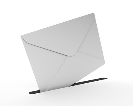 White Mail Envelope Isolated on the White Background  Contact Us Icon Stock Photo