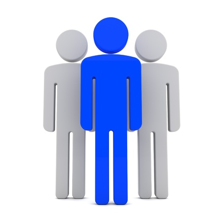 Team of Three Human Figures Standing Together on the White Background Stock Photo - 17585094