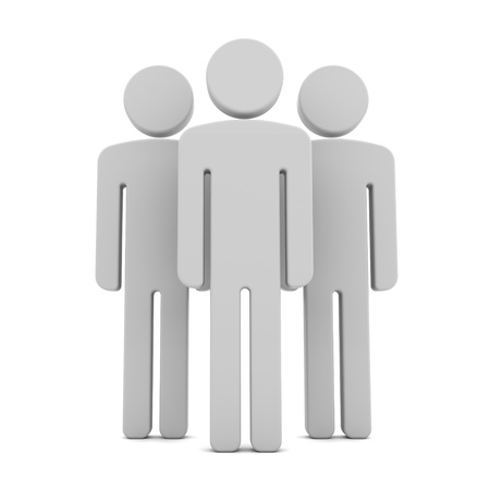 Team of Three Human Figures Standing Together on the White Background Stock Photo - 17585110