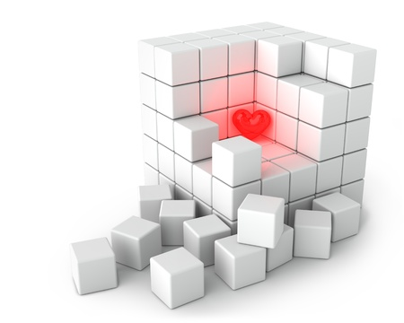 crowded space: Red Bright Heart and Big White Cube of Small Cubes on the White Background