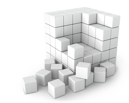 crowded space: Big White Cube of Small Cubes on the White Background Stock Photo