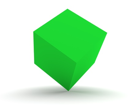 3d Green Cube Isolated on the White Background photo