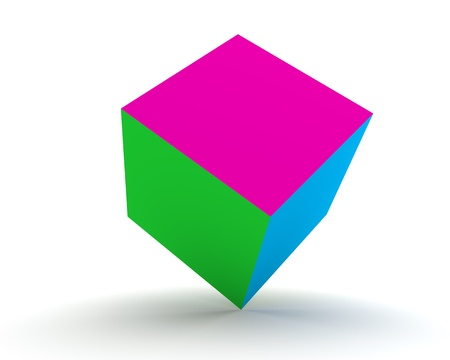 trichromatic: 3d Tricolor Cube Isolated on the White Background
