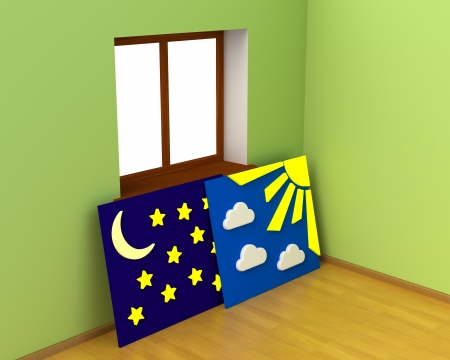 day and night: Fairy Room with Free Alternation of Day and Night  Free Thought Concept  Right of Choice