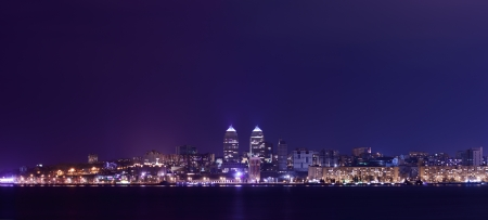 Night Skyline of Dnipropetrovsk with Reflection in the river Dnipro, Ukraine Stock Photo