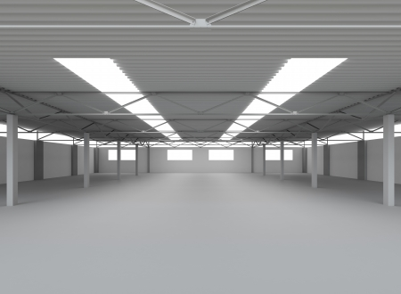 New Modern Empty Storehouse  Huge Light Empty Storehouse photo