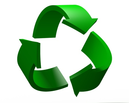3D Render of Recycling Symbol Isolated on the White Background photo
