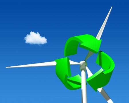 renewable resources: Wind Generator Turbine over Blue Sky  Green Renewable Energy