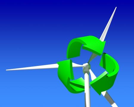 rotate icon: Wind Generator Turbine over Blue Sky  Green Renewable Energy