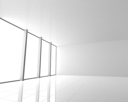 big windows: Пустой Современный белый интерьер с большими окнами