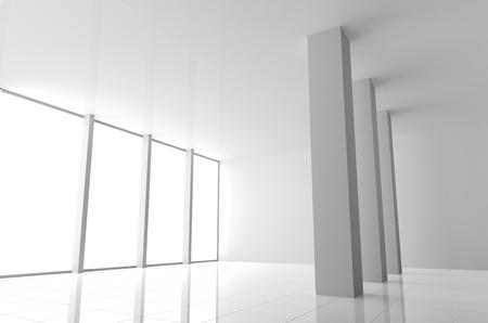 Empty Modern White Interior with Big Windows Stock Photo - 18640210