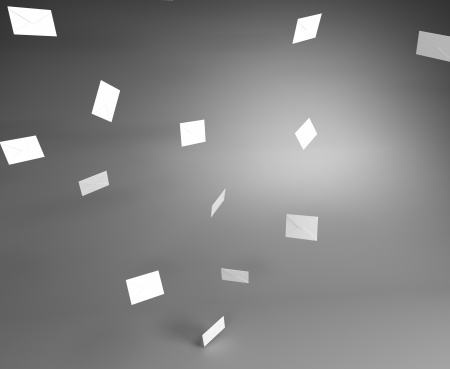 paper kite: Lot of White Mail Envelops Flying in the Air in the Gray Room