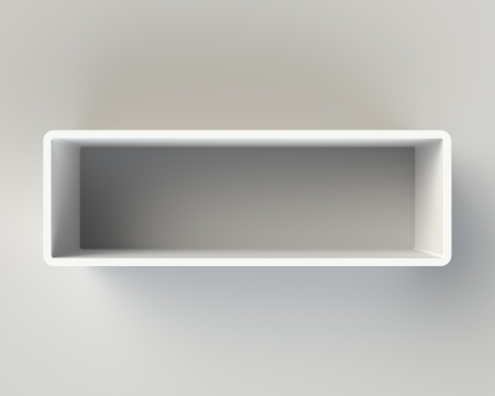 Modern White Book Shelf on the Light Gray Wall photo