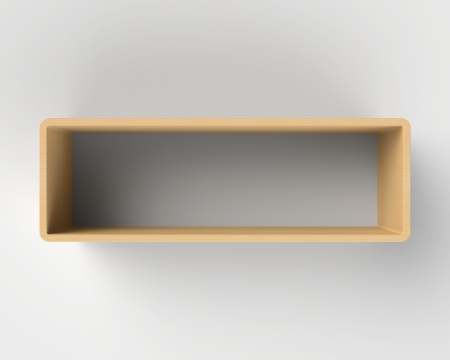 Modern Wooden Book Shelf on the Light Gray Wall photo