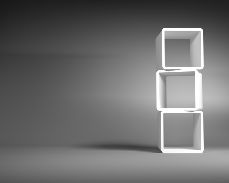 White Abstract Rectangle Frames Standing in the Empty Gray Room photo