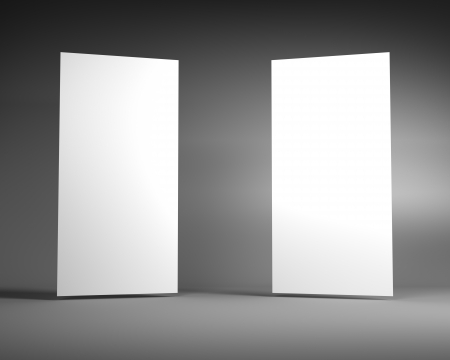 display stand: Two Blank White Vertical Billboard on a Dark Grey Background Stock Photo
