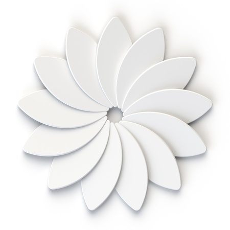 3d flower: 3D Abstract White Flower on the White Background