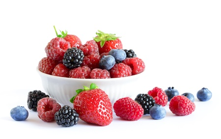 Big Pile of Fresh Berries on the White Background Stok Fotoğraf - 21655185