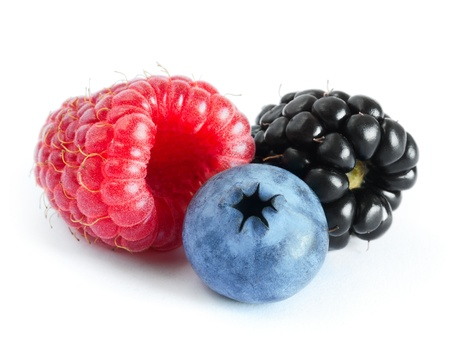 Ripe Sweet Raspberry, Blueberry and Blackberry Isolated on the White Background Imagens