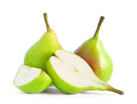 Group of Fresh Ripe Pears with Slices Isolated on the White Background Stock Photo