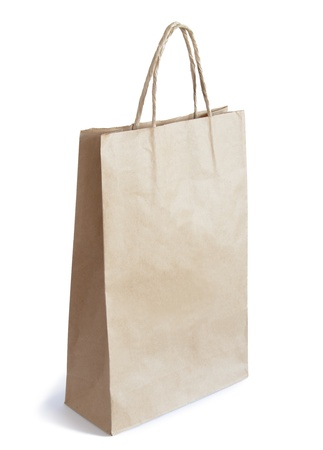 Brown Paper Bag with Copy Space Isolated on White Background photo