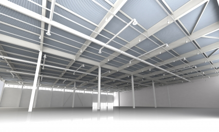 New Modern Empty Storehouse  Huge Light Empty Storehouse Imagens - 23906440