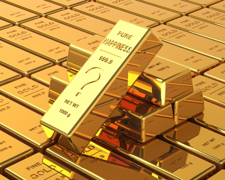 Big Set of Gold bars  Labeled with Pure Happines