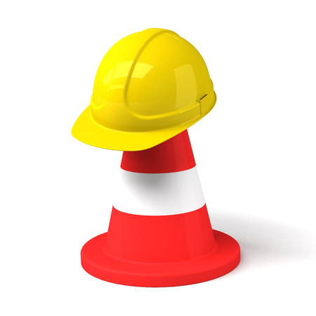 Traffic Cone and Hard Hat Icon Isolated on the White Background photo