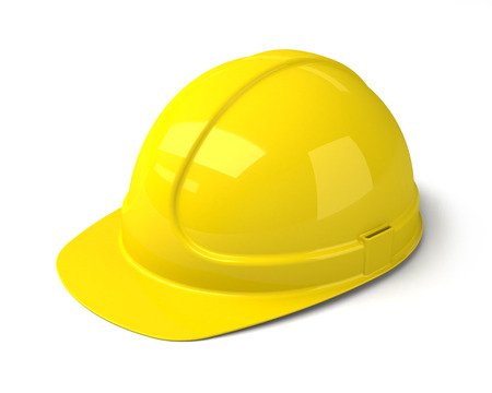 hard cap: Yellow Safety Helmet on the White Background  Construction Hard Hat Icon  Stock Photo