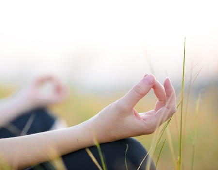 Young Woman Practices Yoga on the Meadow. Active Lifestyle Stock Photo
