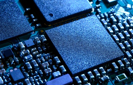 Close up Image of the Electronic Circuit Board with Processor