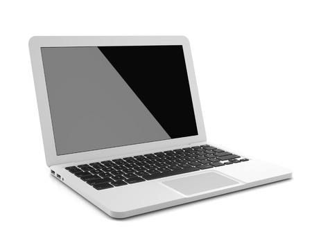White Modern Laptop with Black Screen and Black Keys Isolated on the White Background Stock Photo