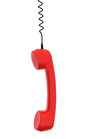 Red Retro Business Telephone Receiver Hangs by its Cord on the White Background Foto de archivo