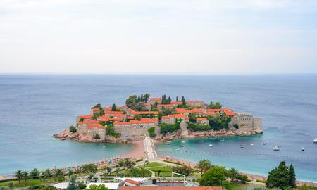 balkans: Beautiful Island and Luxury Resort Sveti Stefan in Budva, Montenegro. Balkans, Adriatic sea, Europe.