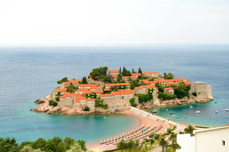 sveti: Beautiful Island and Luxury Resort Sveti Stefan in Budva, Montenegro. Balkans, Adriatic sea, Europe.