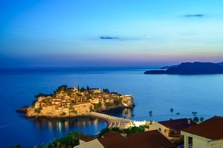 paradise bay: Beautiful Island and Luxury Resort Sveti Stefan in Budva at Night, Montenegro. Balkans, Adriatic sea, Europe.