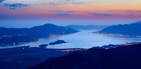 Bay of Kotor at Night. Ultra High Resolution Panorama of Boka-Kotorska bay. Kotor, Tivat, Perast, Montenegro.