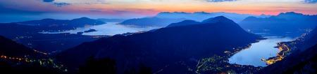 Bay of Kotor at Night. Ultra High Resolution Panorama of Boka-Kotorska bay. Kotor, Tivat, Perast, Montenegro. Stock Photo