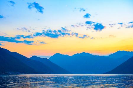 Bay of Kotor at Sunset. Evening Panorama of Boka-Kotorska bay, Montenegro. Stock Photo