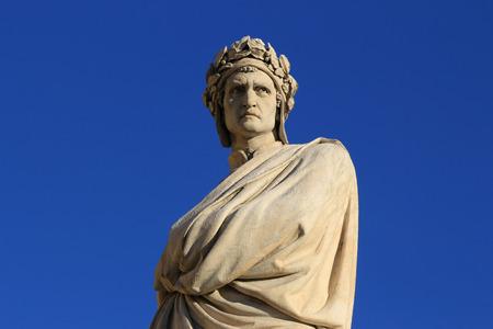 Dante Alighieri statue in the square Santa Croce in Florence, Italy