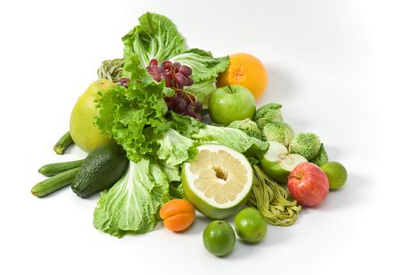 vegs: A still-life with fresh vegs and fruit, mostly of green colour