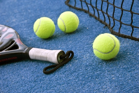 Objects of paddle, balls and racket Stock Photo
